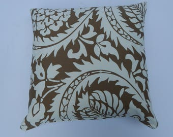 Brown and White ,square 18 x18 ,zippered pillow cover