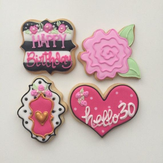 Birthday Cookies Flower Cookies Kate Spade Cookies Girly