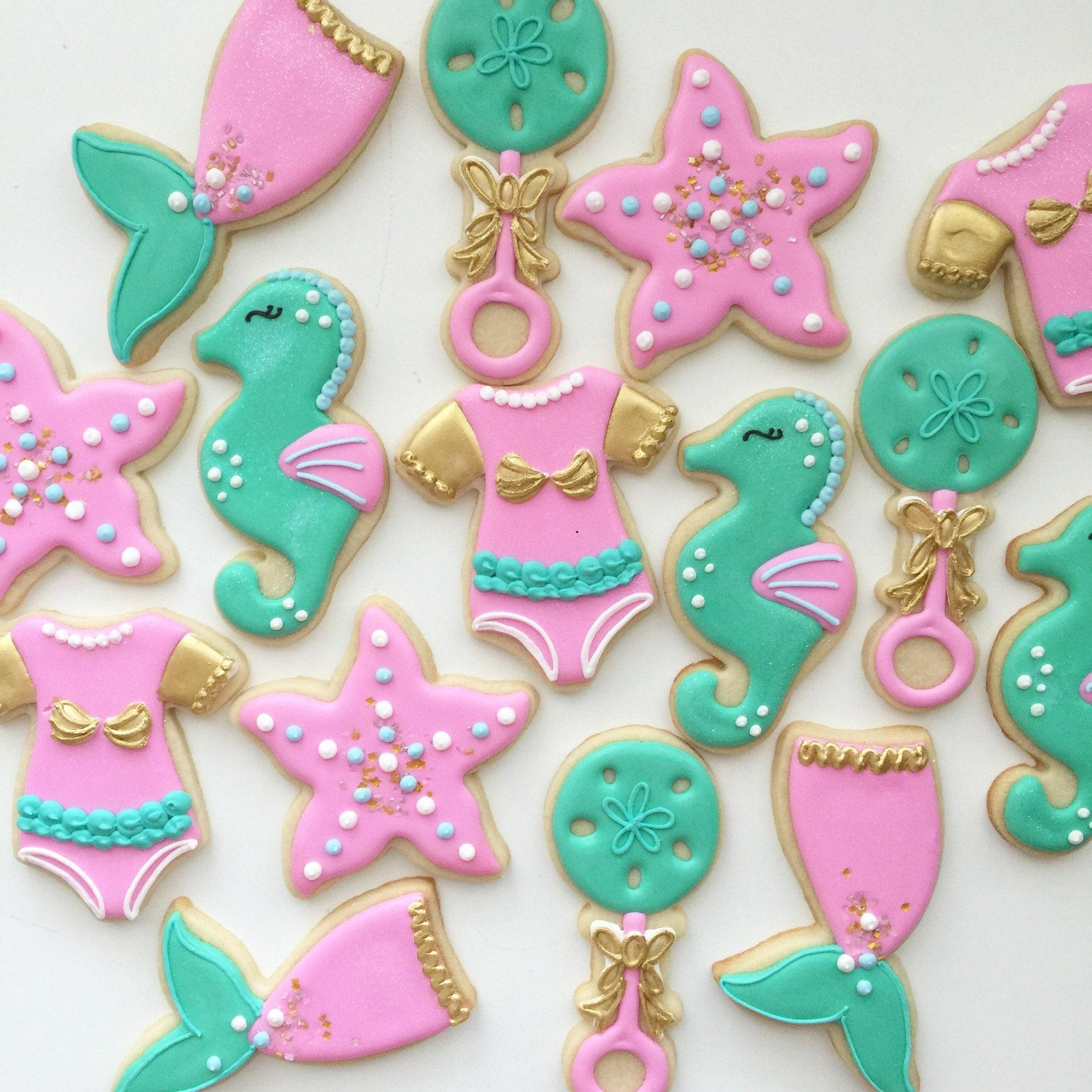 Baby Shower Cookies Mermaid Cookies Mermaid Party Baby | Etsy