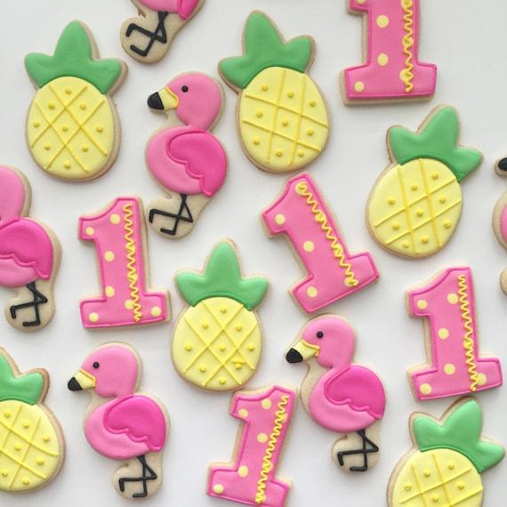 Flamingo Cookies Pineapple Cookies Birthday Cookies Party
