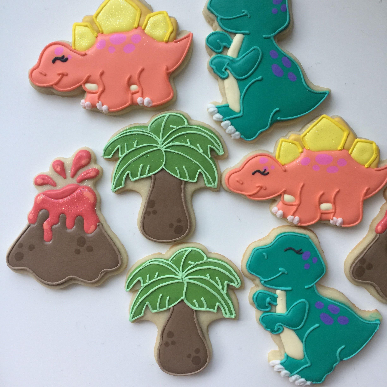 Dinosaurs Cookies Birthday Cookies Dinosaur Party Dinosaur
