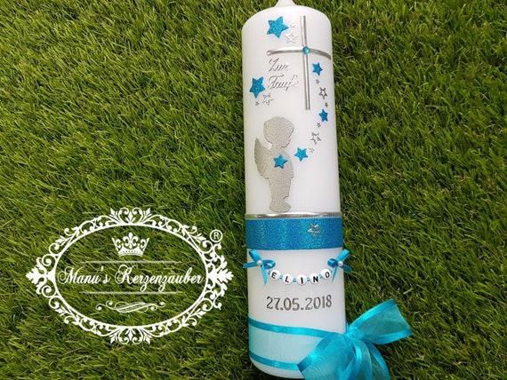 Taufkerze Junge Spruch Engel Sterne blau