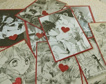 Manga Romance Card, Anime Valentines Card, Manga Love, Card for Lovers, Graphic Comic Card, Red Heart Card, Wedding Card, Engagement Card