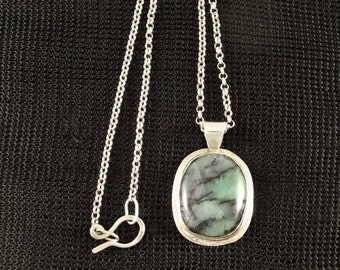 Australian Chrysoprase and sterling silver Pendant Necklace -Handmade