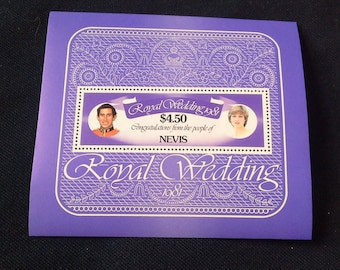 1981 Nevis Charles And Diana Royal Wedding 4.50 dollar Stamps Sheetlet