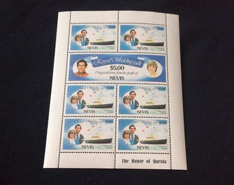 1981 Nevis Charles And Diana Royal Wedding 5 Dollar Stamps Sheetlet