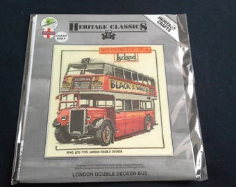 Heritage crafts cross stitch chart London Double Decker Bus