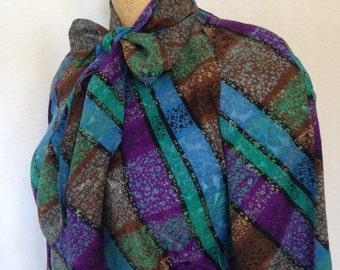 47990ff893cbb6 1970s bold plaid blouse by Francesca of Damon for STARINGTON