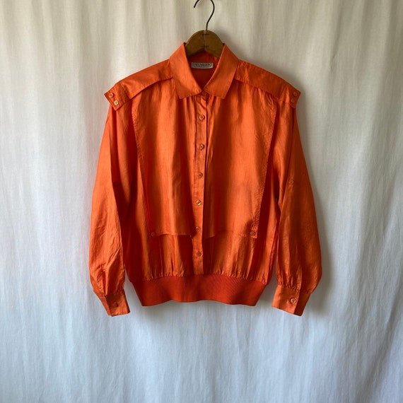 1980s orange military inspired blouse by NEIL MART