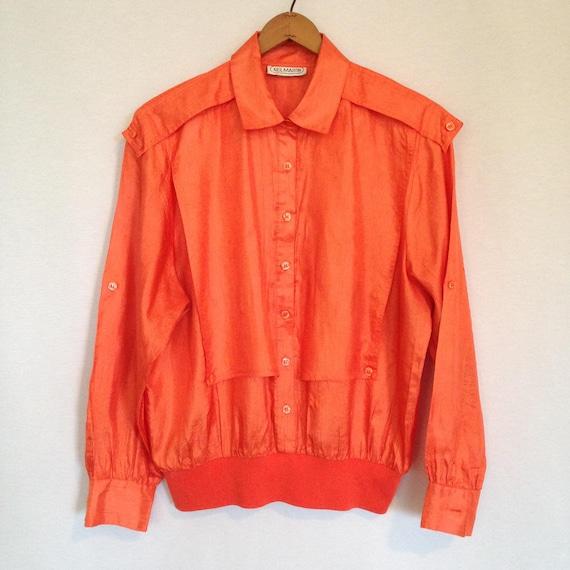1980s orange military inspired blouse by NEIL MART