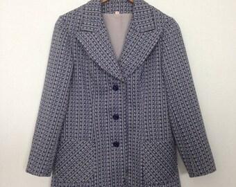 1970s grey/blue/white print blazer, sz 36