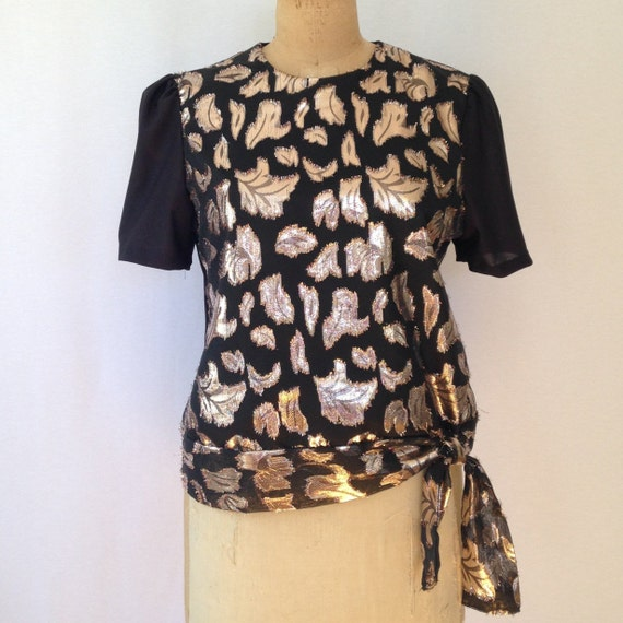 1980s metallic leaf print evening blouse by Frejan