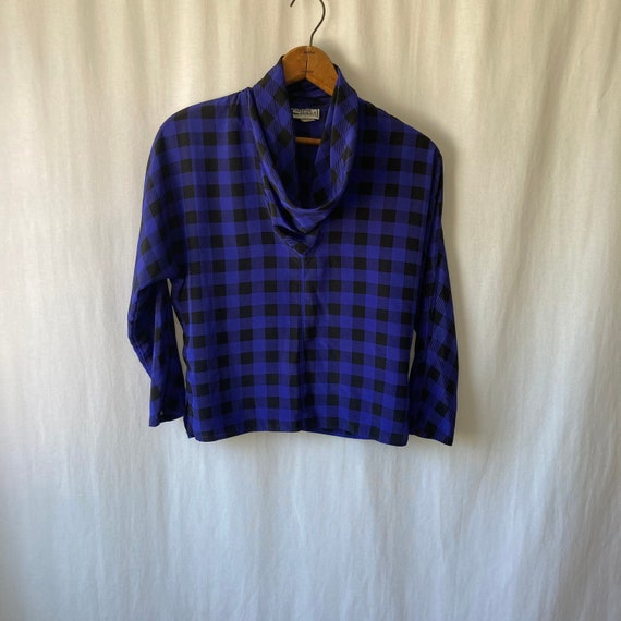 1980s cowl neck plaid blouse by CAMPUS CASUALS