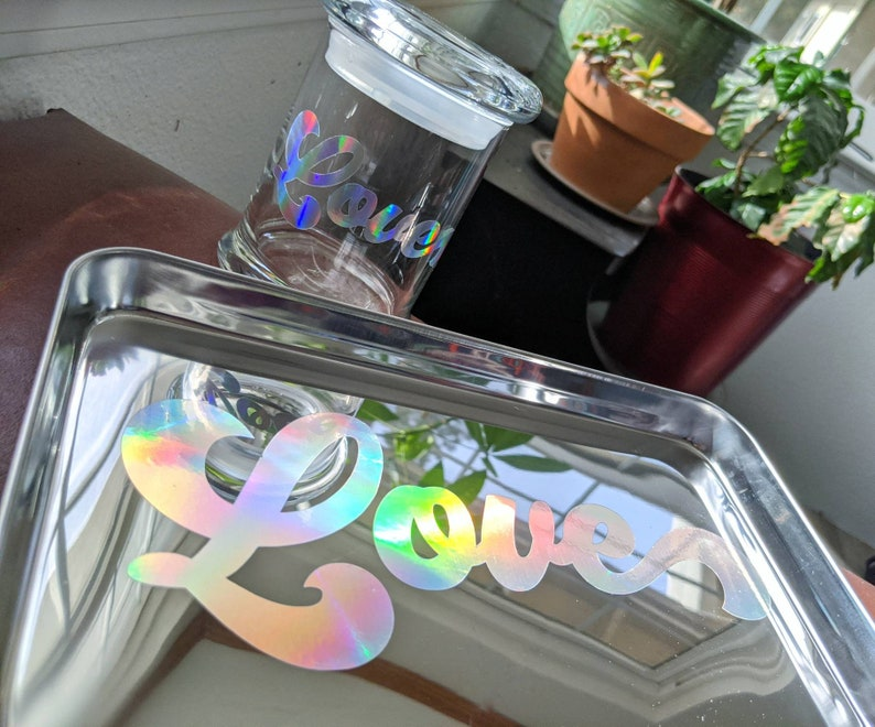 Tray Set  Love Is  Holographic  Tray and Large Glass Stash image 0