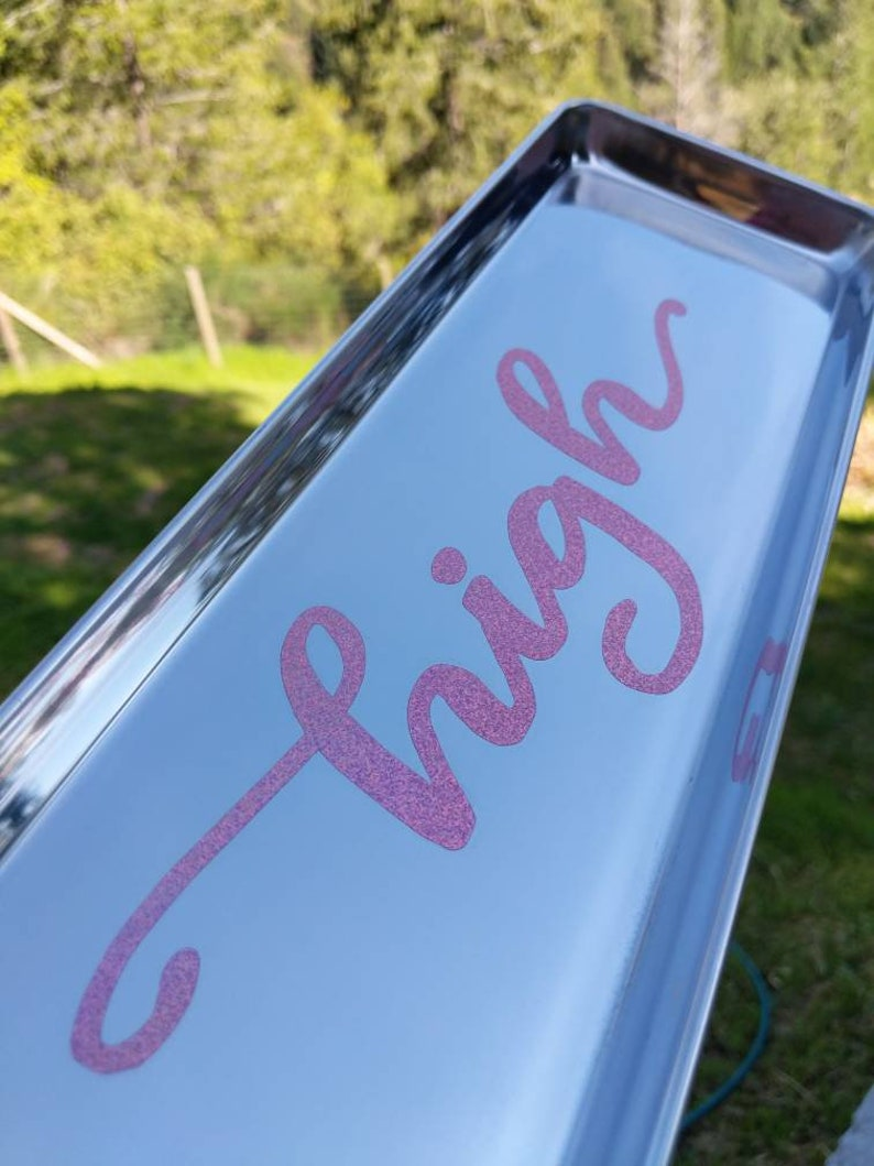 TRAY  Pink Rose Gold Glitter High  Serving Rolling Tray  image 0