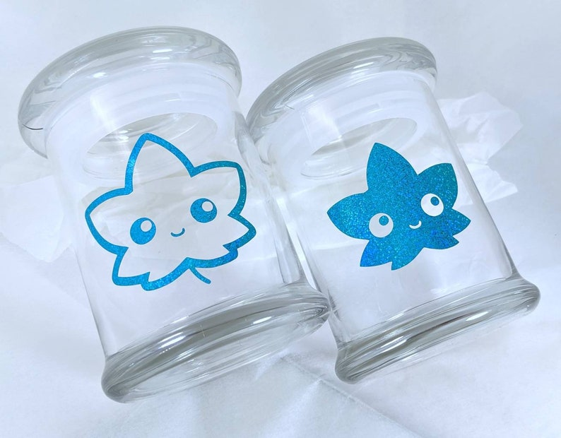 2 LARGE Jars  Friend Leafs Jar Set  Ocean Glitter  image 0