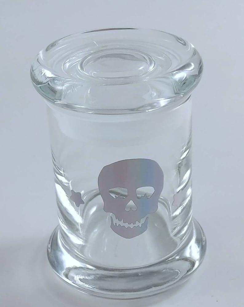 SMALL  Holographic Cannabis Marijuana Leaf Sugar Skull Glass image 0