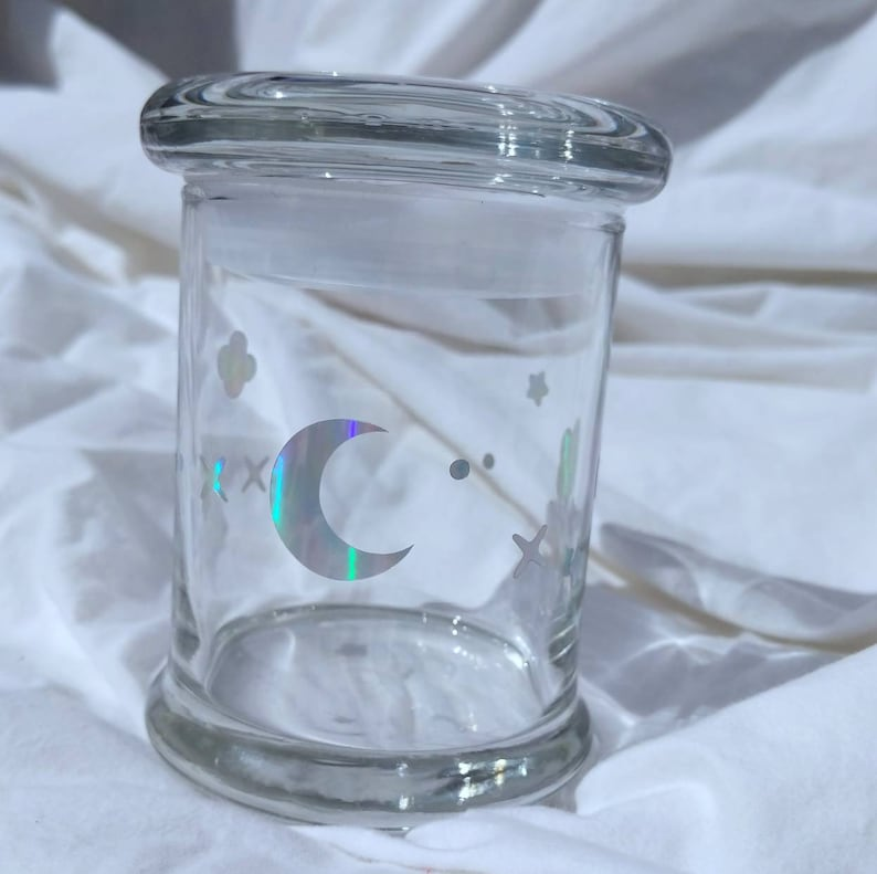 LARGE  Holographic Kawaii Design  Stash jar  Large  image 0