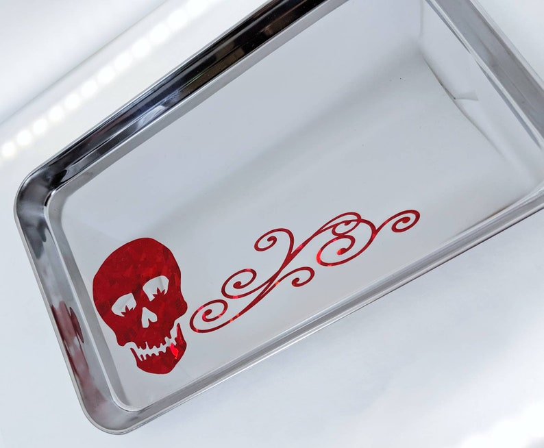 TRAY  Marijuana Sugar Skull with Flourish  Red Glitter  image 0