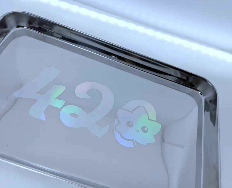 TRAY Holographic Kawaii Cannabis Leaf  420  Living Room image 0