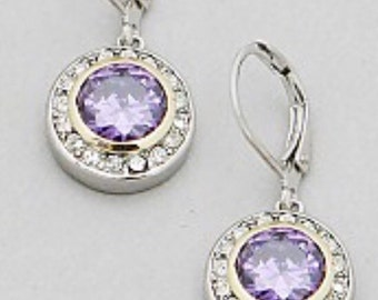 Amethyst circle casted earrings, with lever back closure , sterling silver