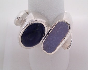Sterling Silver With Lapis and Blue Druzy Ring, druzy, lapis, blue, gypsy set,  jewelry, bold, unique, statement jewelry, handmade-87