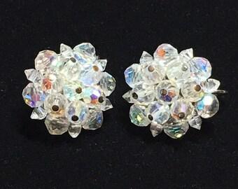Vintage Signed Laguna Clear Aurora Borealis Bead Earrings