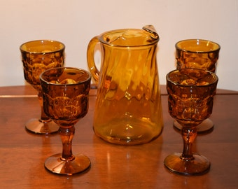 Vintage Indiana Glass Co Amber Glass Pitcher and Goblet set