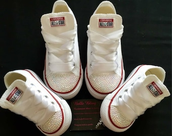 Customised classic converse infant childrens bling crystal white e76dc7baf9