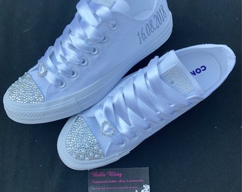 9d24fd922a72 Wedding bridal customised converse pearls charms