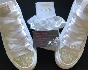 d8224ede6dc4 Wedding bridal customised converse