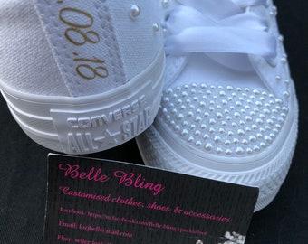 89a9af090c3e12 Wedding bridal customised converse
