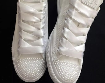 3ecf3d97ca01 Wedding bridal customised converse