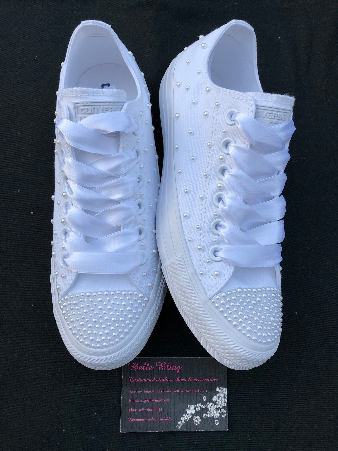 Wedding bridal customised converse, crystals, pearls, personalised, bling made to order