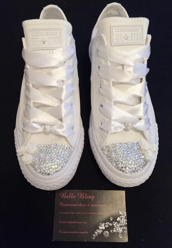 custom kristall strass bling hochzeit weiß mono converse
