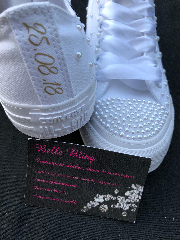 203c53e342fd Wedding bridal customised converse crystals pearls