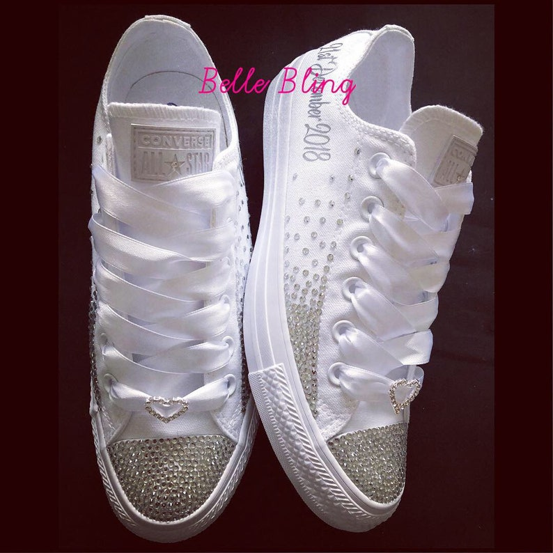 3a1ff310fd97 Wedding bridal customised converse crystals charms