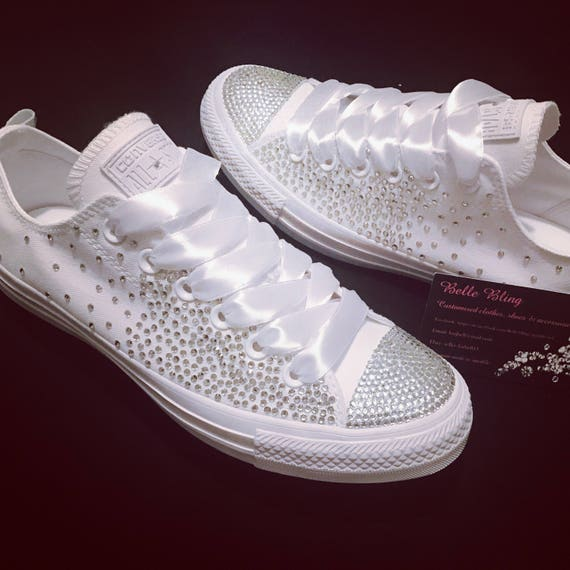 d62e6b429fd3 Wedding bridal customised converse crystals charms bling