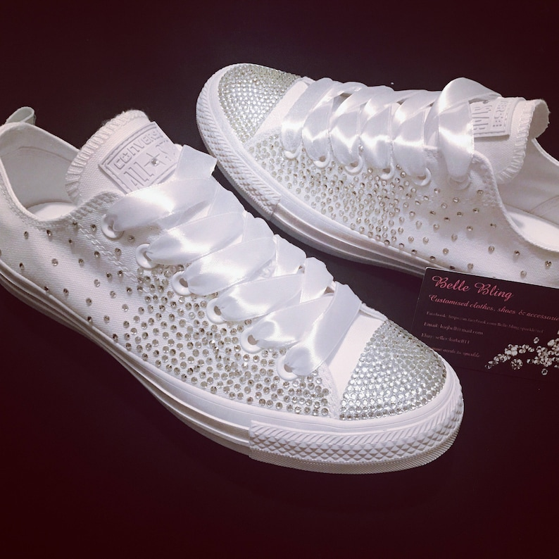 bc428e8a9e95 Wedding bridal customised converse crystals charms bling