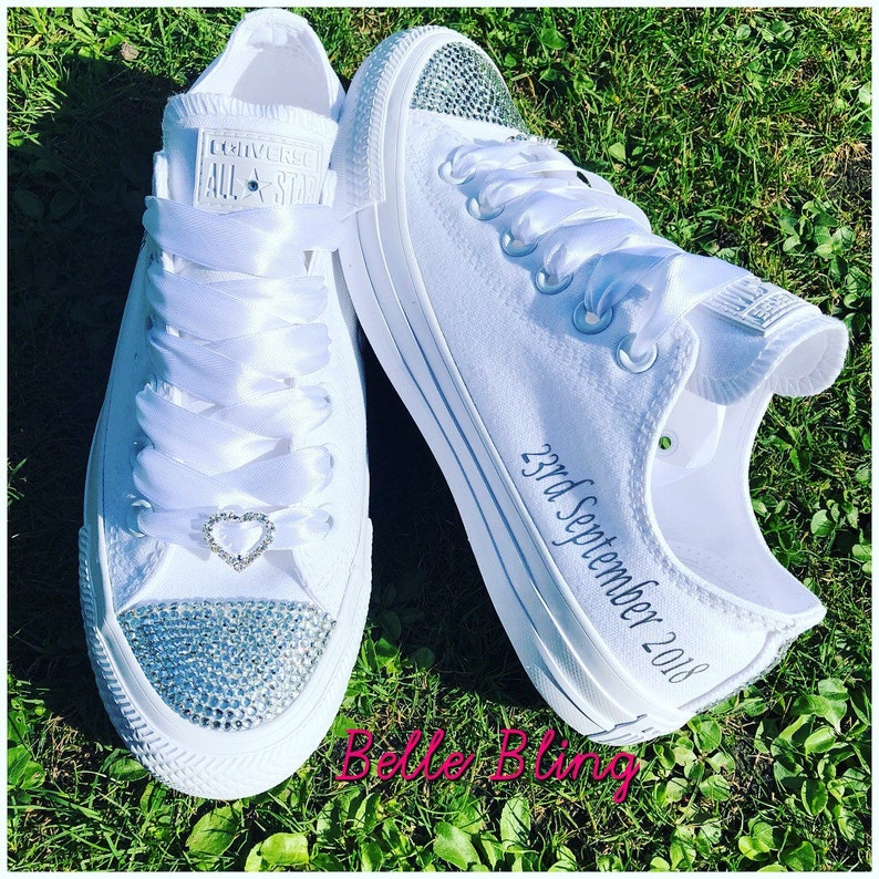 1d607d123402 Wedding bridal customised converse crystals charms