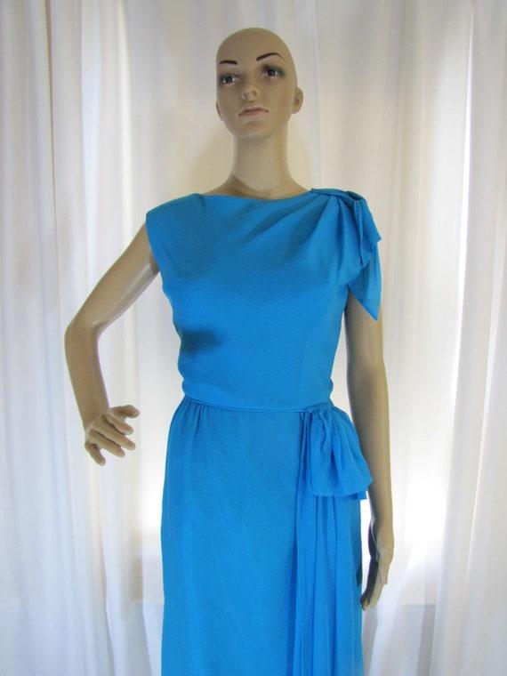 1960's Silk Chiffon Sheath Style Draped Turquoise… - image 2