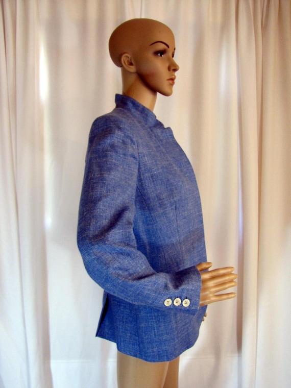 1990's Prada Wool Blend Mandarin Style Jacket, Sm… - image 8