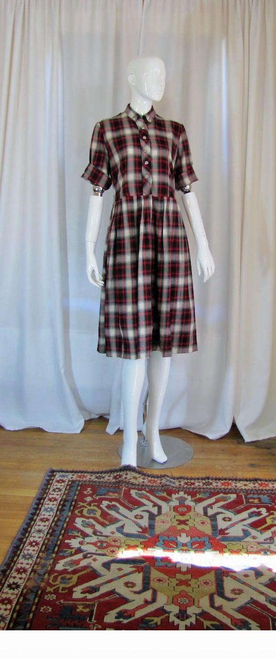 1950's Poplin Black and Red Shadow Plaid Shirtwais