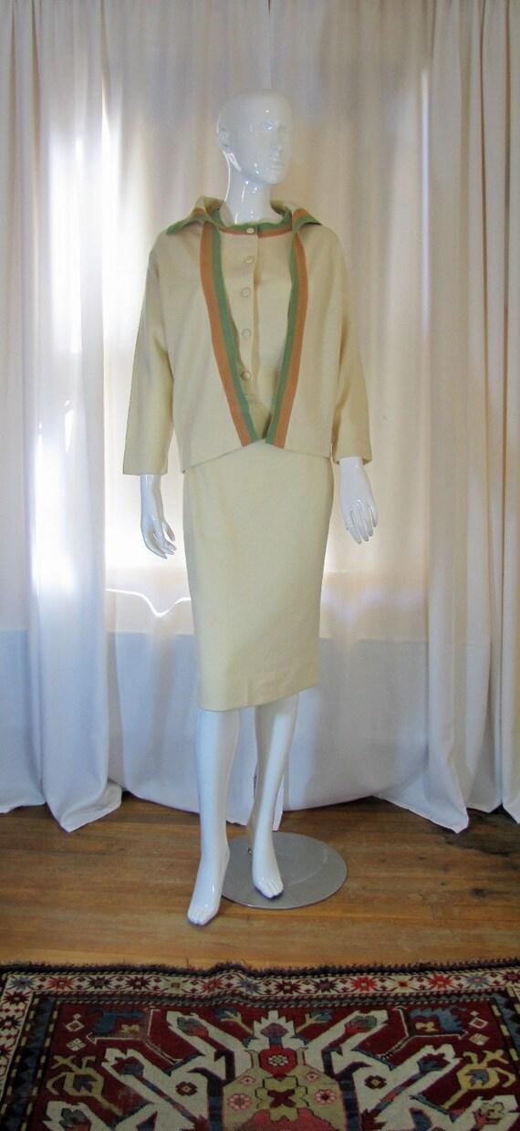 1960's Cadillac Cream Wool Dress and Sweater Set,