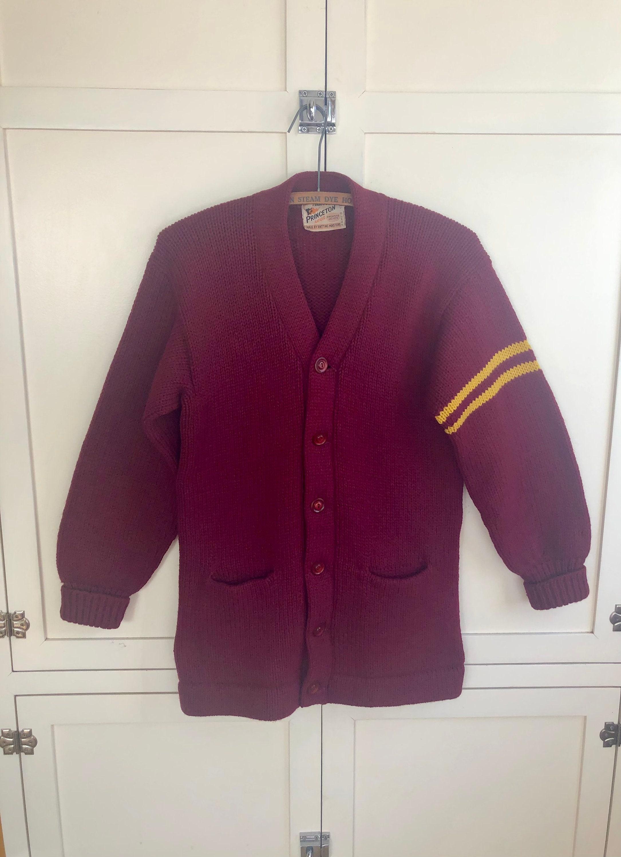 1940s Mens Ties | Wide Ties & Painted Ties 1940s To 1950s Princeton Award Maroon  Gold Wool Varsity Cardigan Sweater, Mens Small, Maroon, Stripe, Wool, 50S, 40S $0.00 AT vintagedancer.com