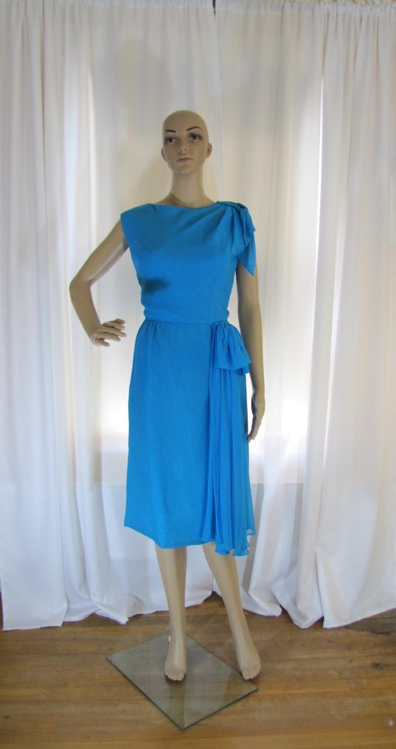 1960's Silk Chiffon Sheath Style Draped Turquoise… - image 9
