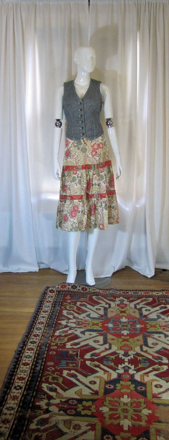 1990's Floral Prairie Style Skirt, Small, Cotton,