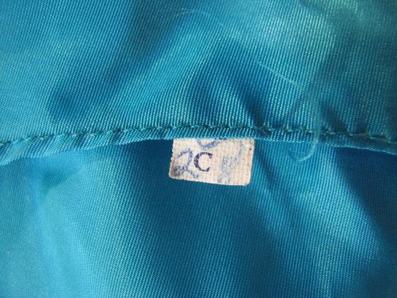 1960's Silk Chiffon Sheath Style Draped Turquoise… - image 8