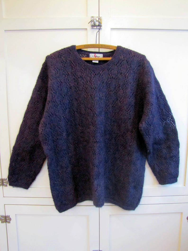Lace Patterned Large LL Bean Made in Scotland, Wool 1990/'s LL Bean Blue Lace Patterned Baggy Sweater Baggy Sweater