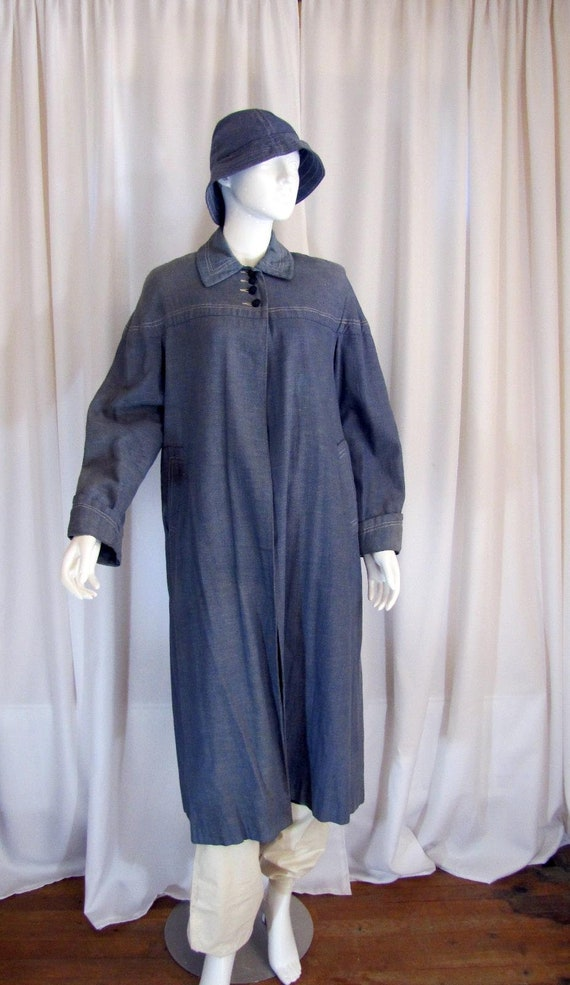 1950's Denim Balmacaan Style Long Coat with Bucket